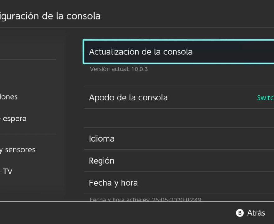 Nintendo Switch actualización firmware 10.0.3