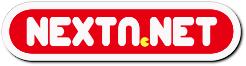 Logo NextN 2018 blanco rojo Pac-Man